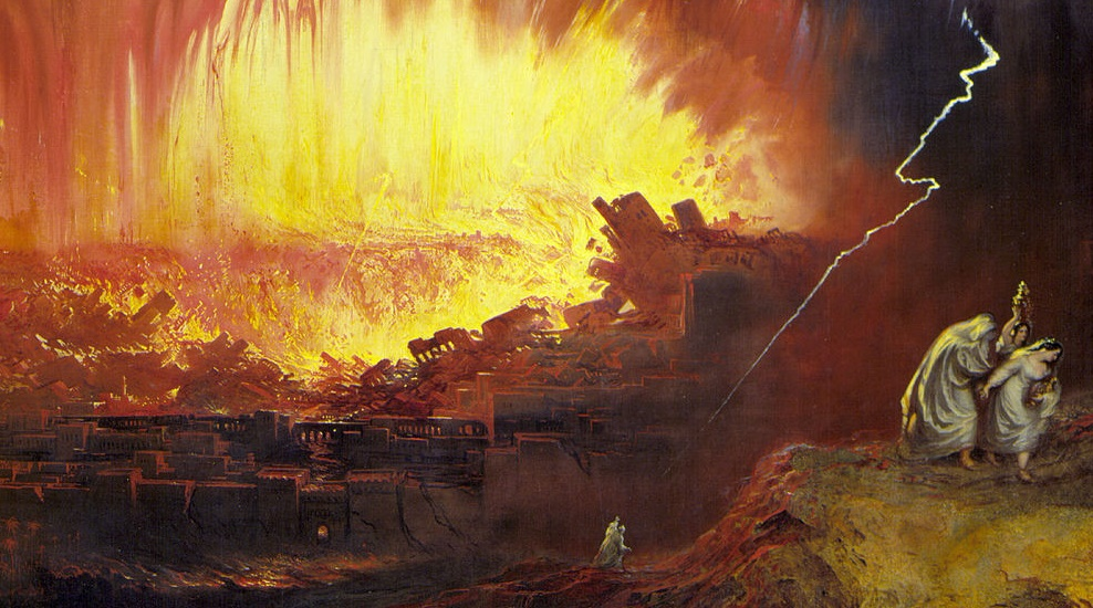 Fire-balls (John Martin, Sodom and Gomorrah, 1854; Source: Wikimedia Commons, PD-Old-100).