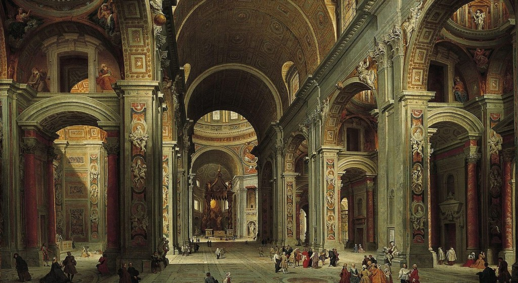 The incessant Synod gossip misses the bigger picture (Giovanni Pannini, The Nave of St. Peter's Basilica in the Vatican, 1754; Source: Wikimedia Commons, PD-Old-100).