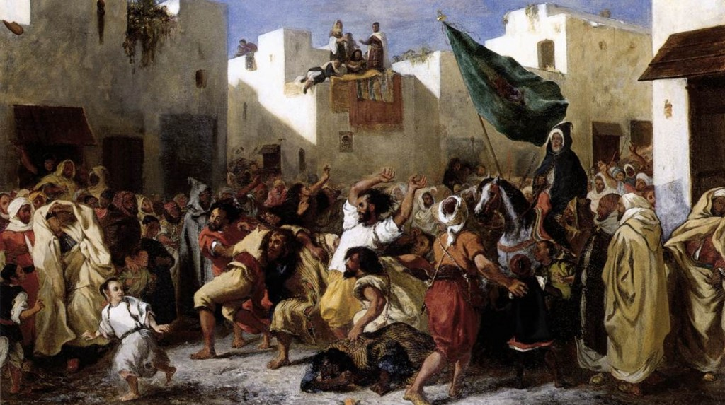 The West has long tried to separate itself unsuccessfully from the Oriental (Eugene Delacroix, The Fanatics of Tangiers, 1838; Source: Wikimedia Commons, PD-Old-100).