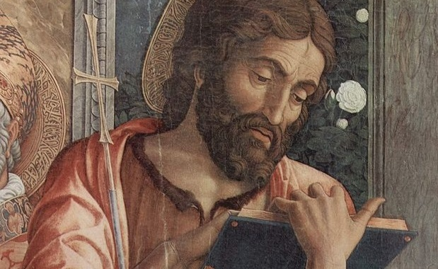 Reading is an exercise in piety even when you're not reading theology (Mantegna, St. John Reading, detail from St. Zeno church, Verona, 1459; Source: Wikimedia Commons, PD-Old-100).