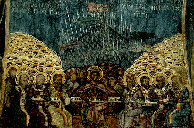 That stuff in the background looks like a political statement (The First Council of Nicea, wall painting at the church of Stavropoleos, Bucharest, Romania, Date taken 7 July 2008, Author Kostisl; Source: Wiki Commons, PD)