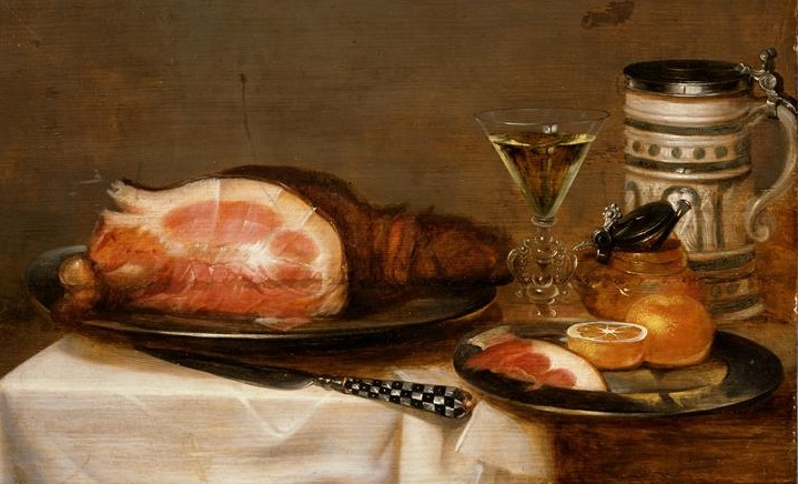 The theology of food is a whole subset (Jacob Foppens van Es, Still Life with Bacon, 17th c.; Source: Wikimedia Commons, PD-Old-100).