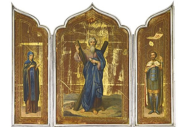 St. Andrew was one of the early competitors for the Alter Christus title (Prince Andrei Alexandrovich of Russia: An Imperial silver triptych icon, Ovchinnikov, Moscow, 1897 in Old Russian style, St. Andrew in Middle; Source: Wikimedia Commons, PD-Registered-Before-1923).