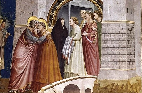 Sealed with a Kiss (Giotto, Scenes from the Life of Joachim: 6. Meeting at the Golden Gate, 1306; Source Wikimedia Commons, PD-Old-100).
