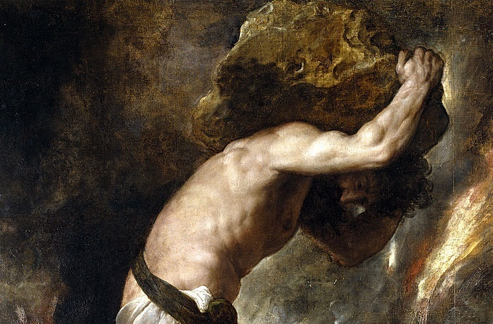 The Myth of Sisyphus would've been too obvious a choice for this list (Titian, Punishment of Sisyphus, 1549; Source: Wikimedia Commons, PD-Old-100).