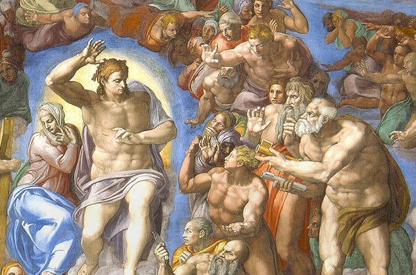 (Michelangelo, Last Judgment in the Sistine Chapel, 1541; Source: Wikimedia Commons, PD-Old-100).