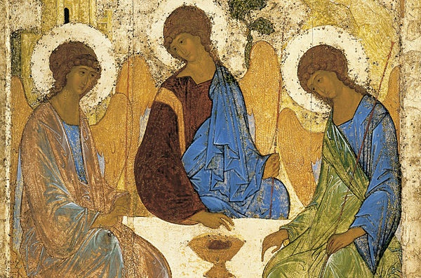 (Andrei Rublev, Old Testament Trinity [detail], 1410; Wikimedia, PD-Old-100).