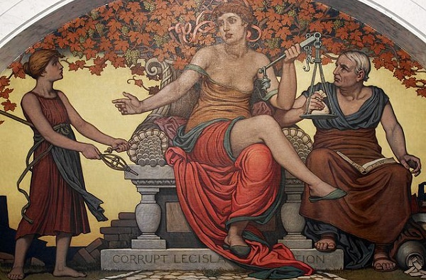 (Detail from Corrupt Legislation. Mural by Elihu Vedder. 1896; Wikimedia, PD-USA-Before 1923)