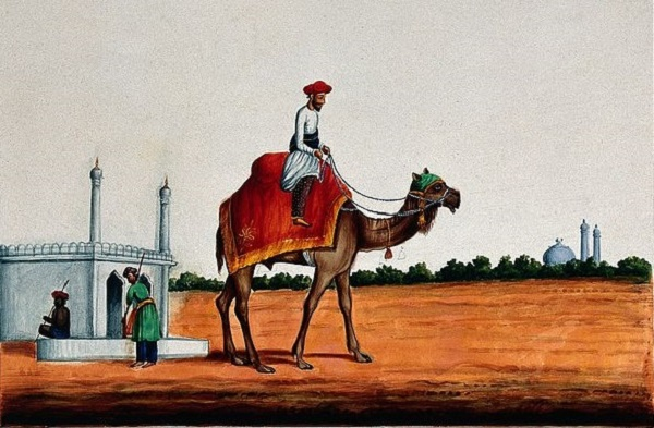 (An Indian man riding a camel. Gouache painting by an Indian, no date given; Source: Wikimedia, CC by 4.0)
