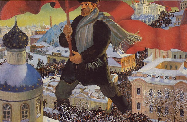 Despite common misunderstandings there are connections between the Russian Revolution and the Church (Boris Kustodiev, The Bolshevik Revolution, 1920; Wikimedia, PD-Before-1923).