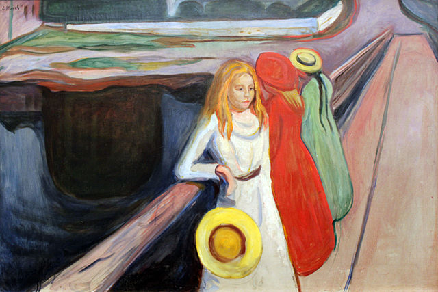 Terrorism is terrifying ordinary (Edvard Munch, Girls on the Pier, 1901; Source: Wikimedia, PD-Before-1923)