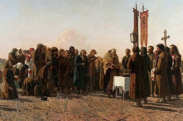 (Grigoriy Myasoyedov, A prayer in time of drought, 1881; Wikimedia, PD-Old-100)