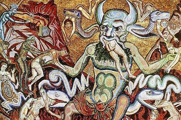 (Coppo di Marcovaldo, Hell Mosaic, 13th c.; Wikimedia, PD-Old-100)