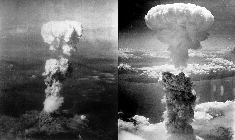 (Atomic Bombing of Japan, images combined by Binksternet; Source: Wikimedia, CC BY-SA 3.0)