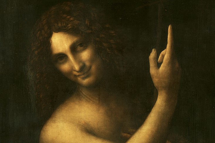 (Leonardo da Vinci, Saint John the Baptist, 1516; Source: Wiki Commons, PD-Old-100).