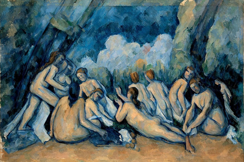 Done swimming . . .(Paul Cezanne, Large Bathers, 1906; Wiki Commons, PD-Old-100).