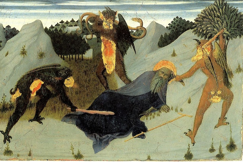 Bad liturgy sometimes feels like...(Stefano di Giovanni, St. Anthony Beaten by the Devil, 1432; Wiki, PD-Old-100)