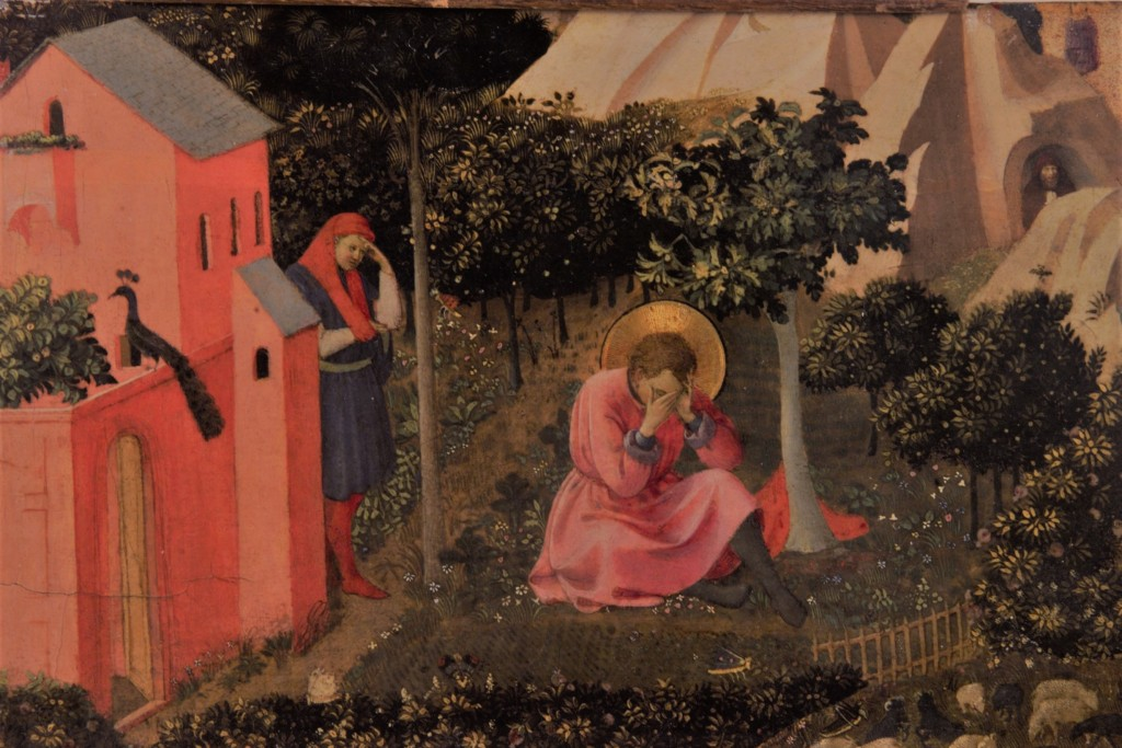 (Fra Angelico, Conversion of St. Augustine, 1435; Wiki Commons, PD-Old-100).