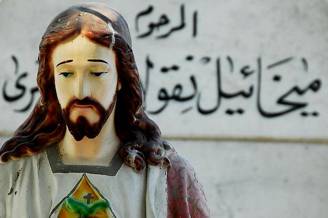 Arabic Jesus, Status of Jesus in Coptic Cairo, 5 April 2008; Source: Flickr, Author: Tinou Bao, CC BY 2.0).