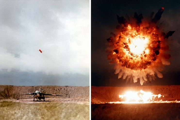 (A U.S. Navy submarine-launched UGM-109 Tomahawk cruise missile hits a North American RA-5C Vigilante target aircraft on San Clemente Island, 1986; Wiki Commons, PD)