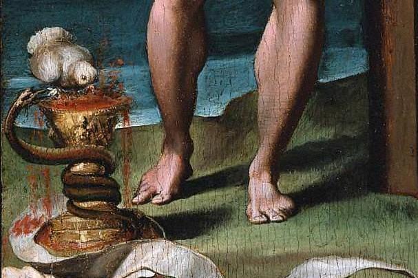 (Bartolomeo Passarotti, 16th c., Blood of the Redeemer [detail]; Wikimedia, PD-Old-10)