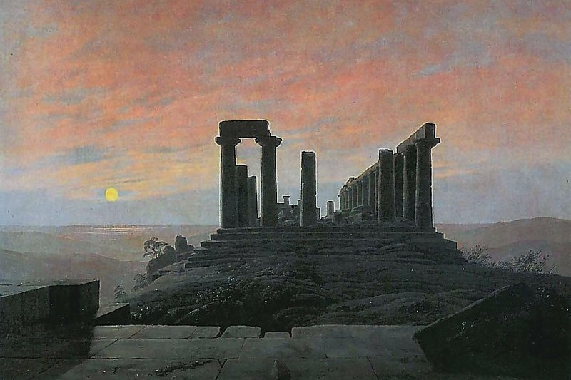 (Caspar David Friedrich, Temple of Juno in Agrigento, c. 1830; Wikimedia, PD-Old-100).