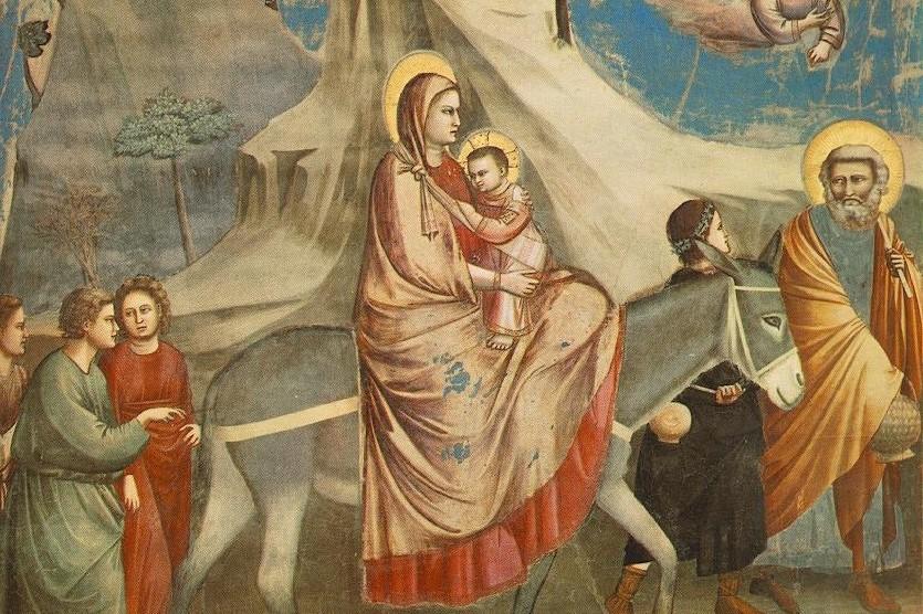 (Giotto, Scrovegni Chapel, Flight into Egypt, circa 13th c.; Source: Wikimedia, PD-Old-100)