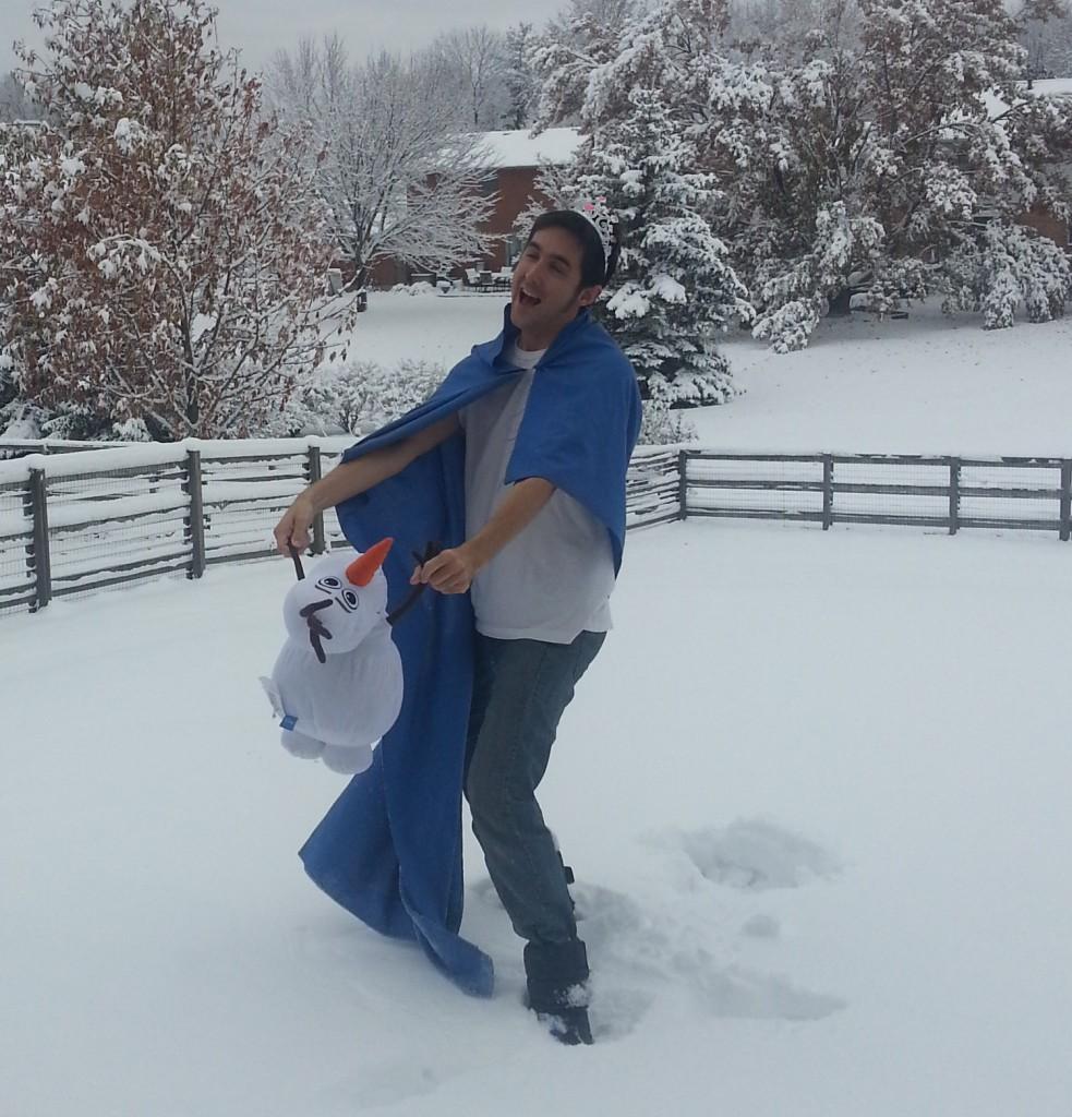 Kyle as Elsa with Olaf
