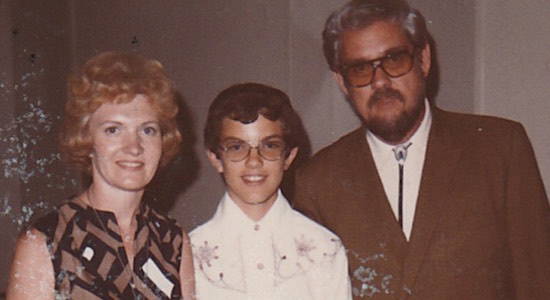 With my parents in 1975, the year before Dad died