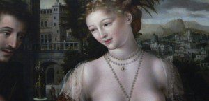 David ogling Bathsheba as she wore the latest Renaissance fashions.