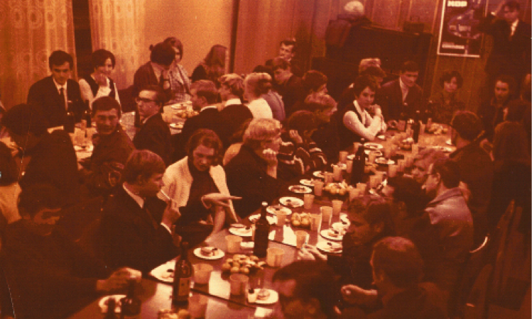 Banquet after a performance of Arkhimed. Image from private archive of M. A. Lebedeva.