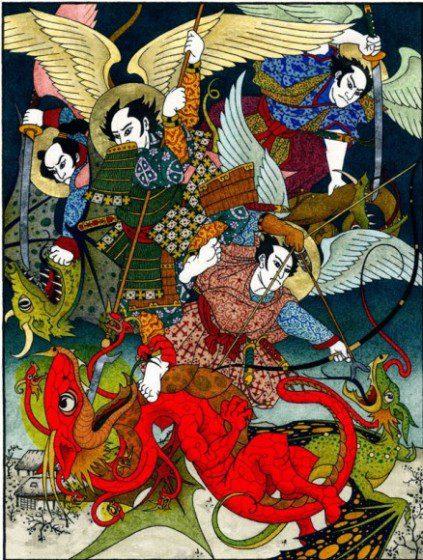 Great Battle in Heaven, Drawing by Daniel Mitsui ©2014 Daniel Mitsui
