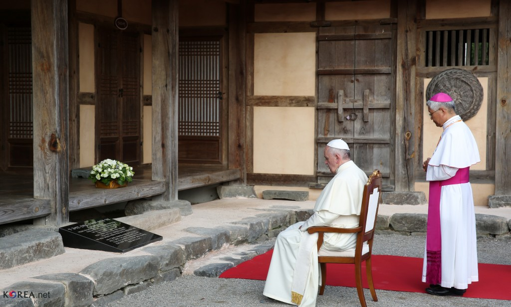(Author: Republic of Korea, Title: Pope Francis visits Solmoe Shrine on August 14 [Detail]; Source: Flickr, CC by SA 2.0)