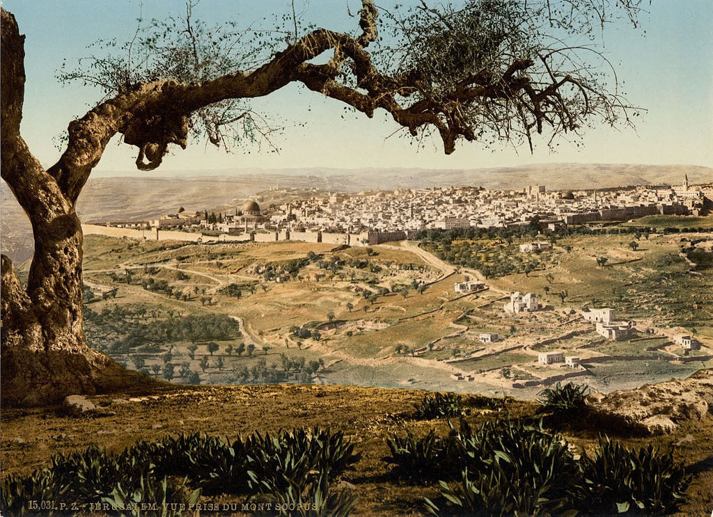 Jerusalem from Mount Scopus, Holy Land, ca. 1895) [CC BY 2.0 (http://creativecommons.org/licenses/by/2.0)], via Wikimedia Commons.