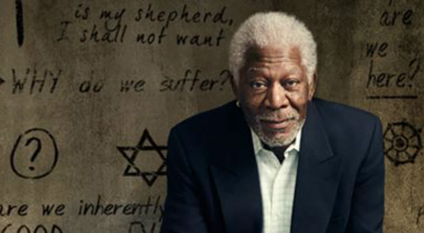 Morgan Freeman in artwork from National Geographic's The Story of God.