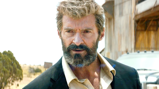 "Nothing says, ""Man, I'm tired of the world and this adamantium skeleton of mine is really killing me"" like Logan's unkempt, grizzled beard. (Hugh Jackman in Logan, photo courtesy 20th Century Fox)"