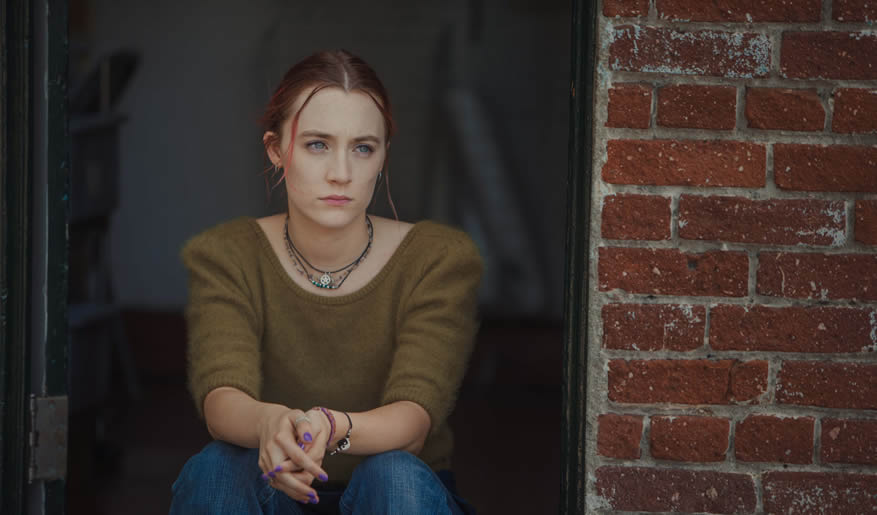 Saoirse Ronan in Lady Bird, photo courtesy Grace Hill Media and A24