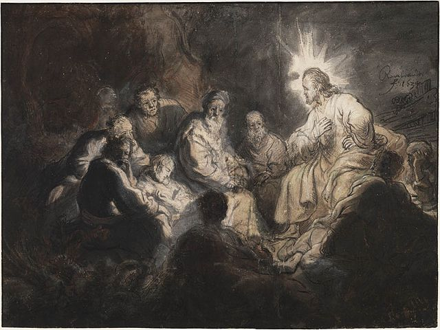 Jesus and his Disciples, by Rembrandt. Wikimedia Commons.