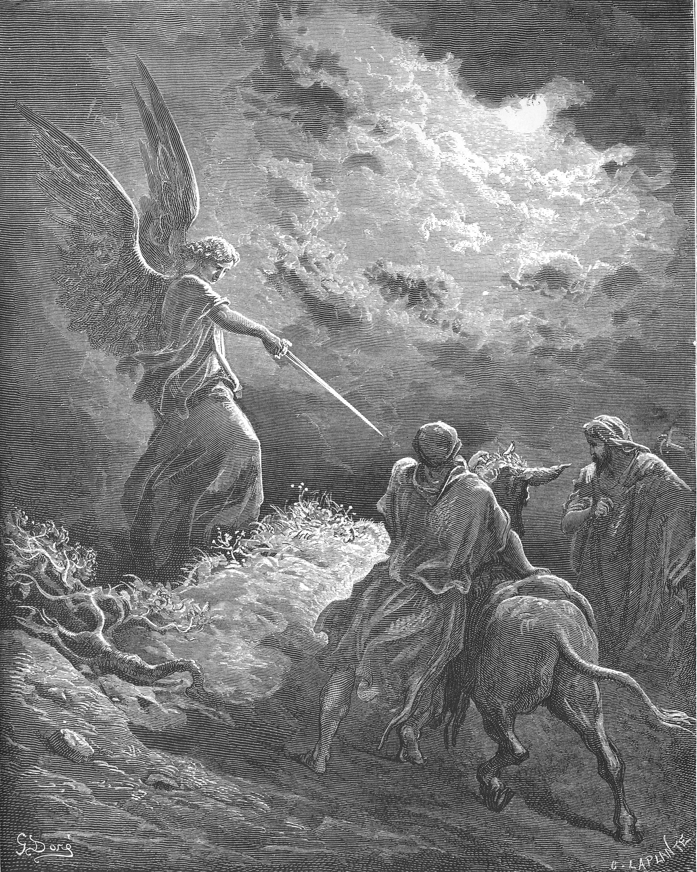 An Angel Appears to Balaam, by Gustave Dore. Wiki Commons.