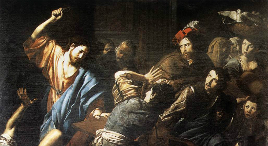 Valentin de Boulogne, Christ Driving the Money Changers out of the Temple. Wiki Commons.