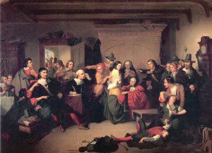 A judge checks a girl for marks that would identify her as a witch in this painting by Thompkins H. Matteson