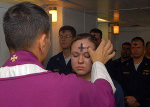 Public Domain https://commons.wikimedia.org/wiki/File:US_Navy_080206-N-7869M-057_Electronics_Technician_3rd_Class_Leila_Tardieu_receives_the_sacramental_ashes_during_an_Ash_Wednesday_celebration.jpg