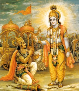 Krishna giving the Gita to Arjuna.