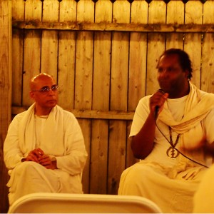 """Sorry for such a blurry picture. This man spoke at the Krishna temple on Janmashtami. It was only a week after Michael Brown was killed and he explained surrender to Krishna as being """"a different kind of surrender"""" than if he has to surrender to police officers so they won't kill him."""