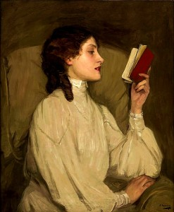 Miss Auras, by John Lavery, depicts a woman reading a book. Public Domain.