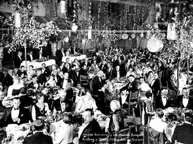 Photograph from the First Academy Awards ceremony, 1929. (Source: Wikipedia)