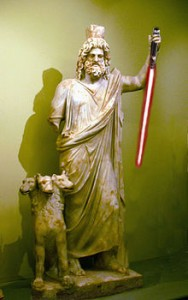 Hades with a Lightsaber by Sable Aradia. From a public domain image of a statue from the Heraklion Archaeological Museum.