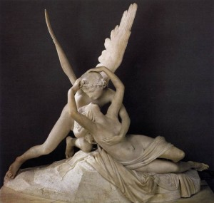 Psyche Revived by Cupid's Kiss (1793) by Antonio Canova (public domain image from the Louvre).