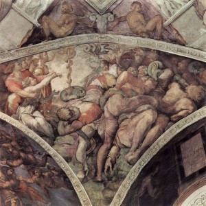 In 1508 Michelangelo's image of the Israelites deliverance from the plague of serpents by the creation of the bronze serpent on the ceiling of the Sistine Chapel. Public domain image courtesy of Wikimedia Commons.