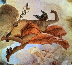 Hermes with caduceus from a fresco by Giovanni Battista Tiepolo (1696-1770). Public domain image.